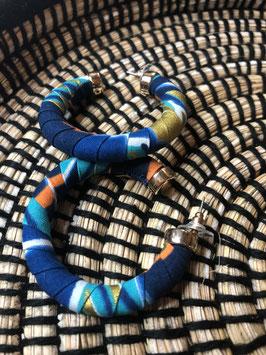 Boucles d'Oreilles Luna - Bleu et Doré