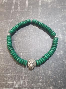 Bracelet pierre de Jade tête de lion