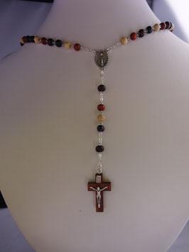 Chapelet perle ronde 7 mm en bois multicolor sur chaîne