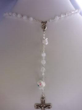 Chapelet translucide avec pater perle rose 7 mm
