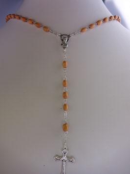 Chapelet perle ovale bois 7 mm.