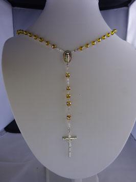 Chapelet grain oeil de chat  miel translucide perles 6 mm