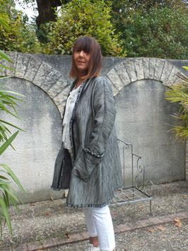 Manteau laine et soie gris chiné
