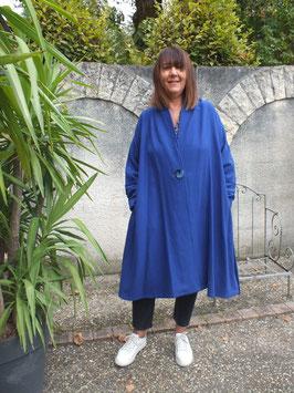 Manteau en flanelle de laine et polyester bleu, pièce unique