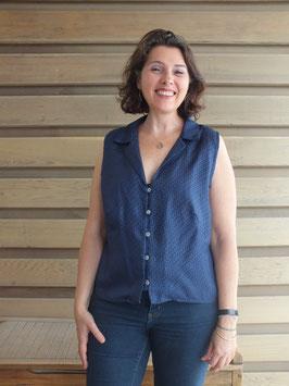 Chemise soie bleue col tailleur