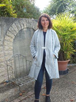 Manteau coton bleu chiné
