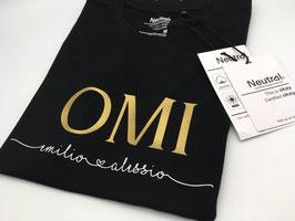 OMI T-Shirt schwarz | gold mit Namen unterhalb | verschiedene Größen