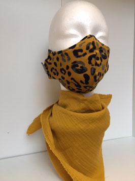Nase/Mund Maske Leoprint Senf