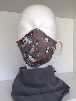 Nase/Mund Maske  Rosen grau