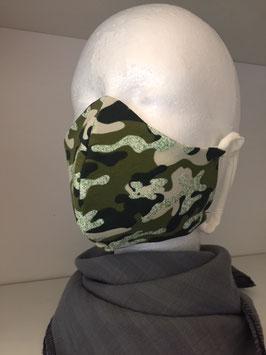 Nase/Mund Maske  Camouflage grün Glitzer