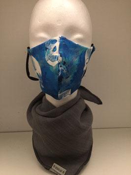 Nase/Mund Maske  Totenkopf blau