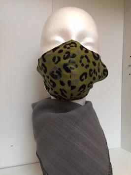 Nase/Mund Maske Leoprint Grün