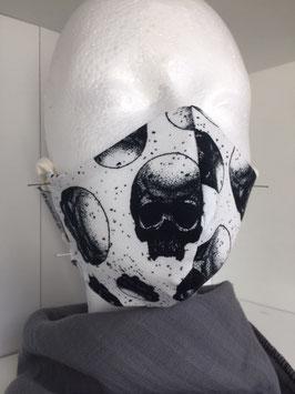 Nase/Mund Maske  Totenkopf Weiß/Schwarz