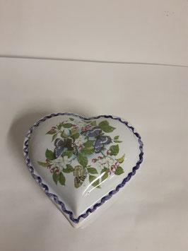 Cœur Faience de Desvres Décor Fleurs et Papillons Diamètre 6,5 cm Hauteur 3cm