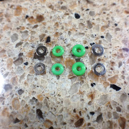 Silicone Rubber Bushings & Nickel Plated Washers, Green