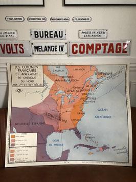 Carte scolaire Colonies françaises et anglaises Amérique du Nord