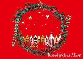 Kranz mit Giebelhäusern – Weihnachtsgrüße aus Münster