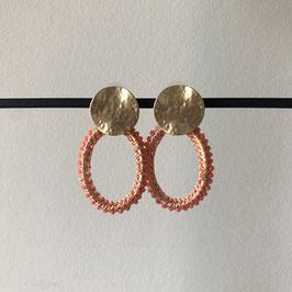 Crystal oorbellen |  Ovaal roze en goud met steker