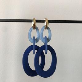 Resin oorbellen | Blauw met gouden steker