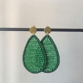 Candy oorbellen | Druppelvorm groen met steker