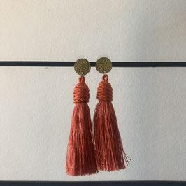 Satijndraad oorbellen | Kwast oranje