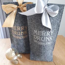 Weihnachtliche Flaschentasche aus Filz!
