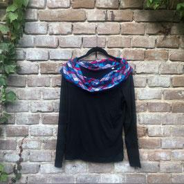langärmliges T-shirt mit afrikanischem Waxprint-Kragen Nr.25 (pink_blue)