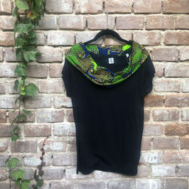 SALE! T-shirt mit afrikanischem Waxprint-Kragen (Nr. 20 grün blau)