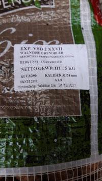 Rieser Walnüsse in der Schale, Ernte 2020, Sorte Franquette, Premiumqualität mit Sortierung 32-34 mm