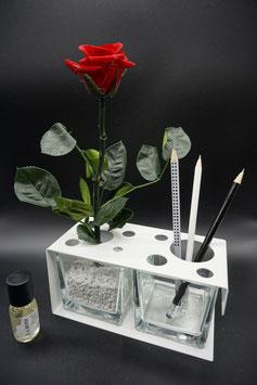 QUUQ 09 kit completo da appoggio in metallo verniciato con rosa rossa e porta-oggetti vetro
