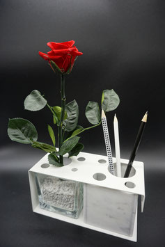 QUUQ 011 kit completo da appoggio in metallo verniciato con rosa rossa e porta-oggetti in marmo bianco carrara