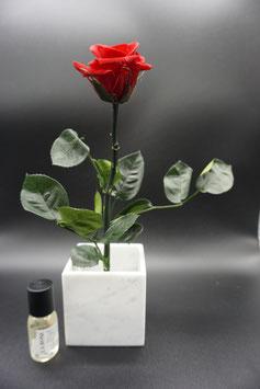 QUUQ 019 kit completo da appoggio bicchiere in ceramica bianca con rosa rossa e fragranza alla rosa