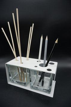 QUUQ 021 kit completo da appoggio in metallo verniciato con diffusore e porta-oggetti BIANCO