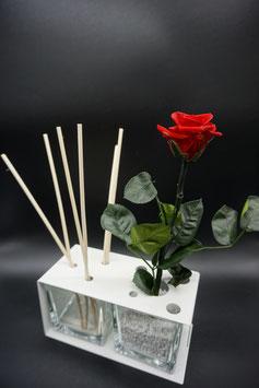 QUUQ 013 kit completo da appoggio in metallo verniciato con rosa rossa e diffusore