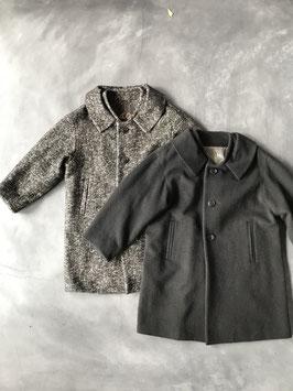 Robes&Confecions/Cotton mohair alpaca herringbone roll collar midi coat