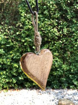 Holz Herz mit Goldrand und Hänger