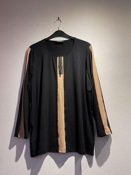 Shirt schwarz-beige- Kontraststreifen / seeyou / 70800