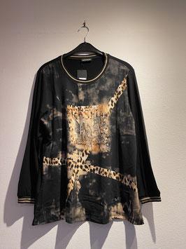 Shirt schwarz mit ausgefallenem Druck (beige-Töne) vorne / seeyou / 70606