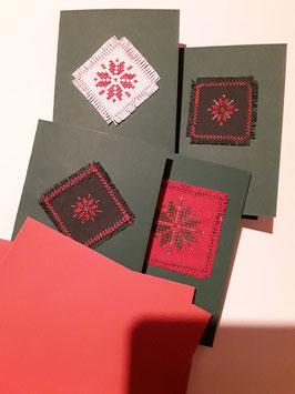 4er Set Kreuzstichkarten dunkelgrün