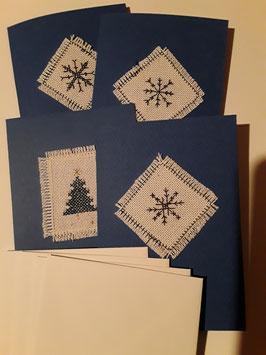 4er Set Weihnachtskarten Kreuzstich, dunkelblau