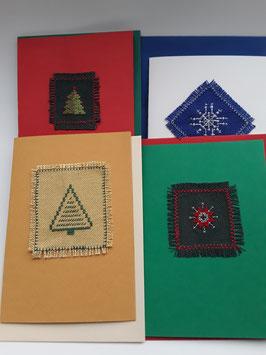 4er Set Adventskarten gemischt