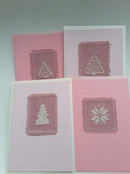 4er Kartenset Advent rosa