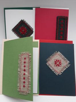 4erSet  Karten Kreuzstichmotive Adventsterne