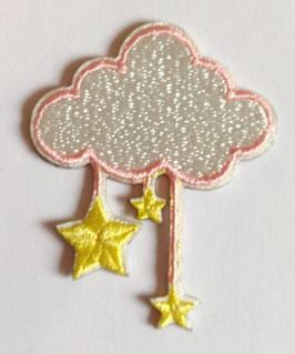 Wolk met roze rand en vallende sterren applicatie zelfklevend