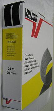 Plakbaar klittenband 20 mm zwart