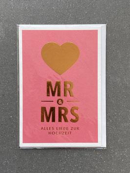 """Kupfergold Klappkarte mit Umschlag """"Mr & Mrs"""""""