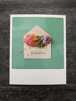Postkarte Pickmotion Gutschein (Briefumschlag mit Blumen)