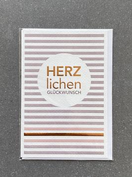 """Kupfergold Klappkarte mit Umschlag """"Herzlichen Glückwunsch"""""""