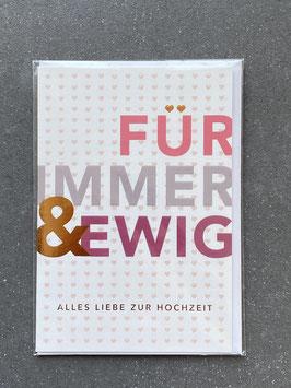 """Kupfergold Klappkarte mit Umschlag """"Für immer und ewig"""""""