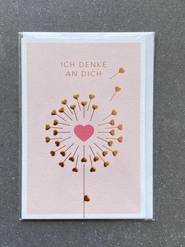"""Kupfergold Klappkarte mit Umschlag """"Ich denke an Dich"""""""